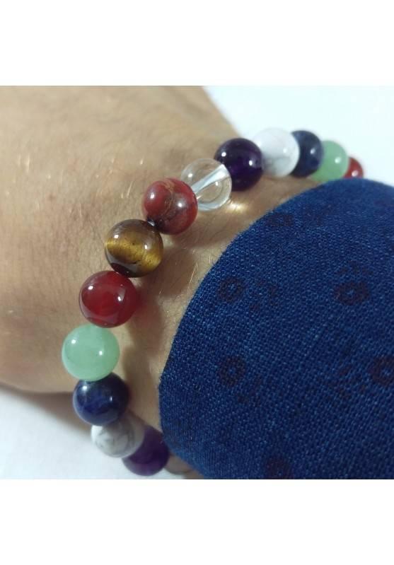 7 Chakra - Seven Chakra Bracelet Carnelian Rose Quartz Red Jasper Spherical Beads -1