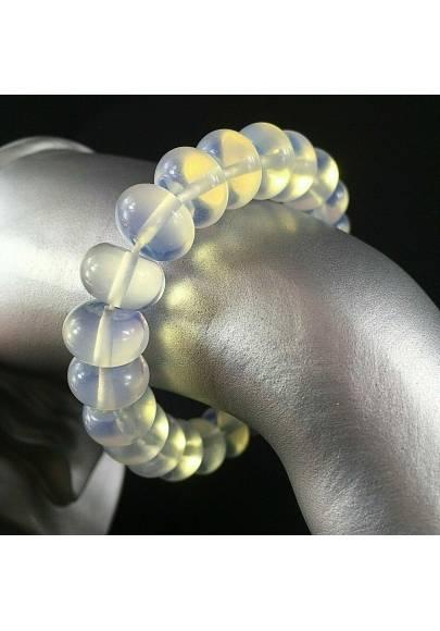 Braccialetto in Quarzo Opale Sferico Bracciale UNISEX Minerali Cristalloterapia-1