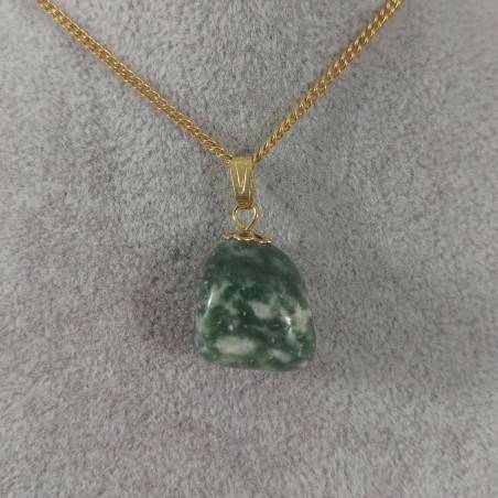 Flower Pendant In Golden MOSS Agate Necklace Charm Chain Crystal Healing-1