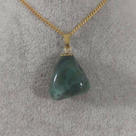 Gold Flower Pendant In Green AGATE Necklace Charm Chain Crystal Healing A+-1
