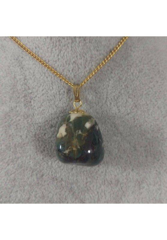 Gold Flower Pendant In Green AGATE Necklace Charm Chain Crystal Healing A+-2