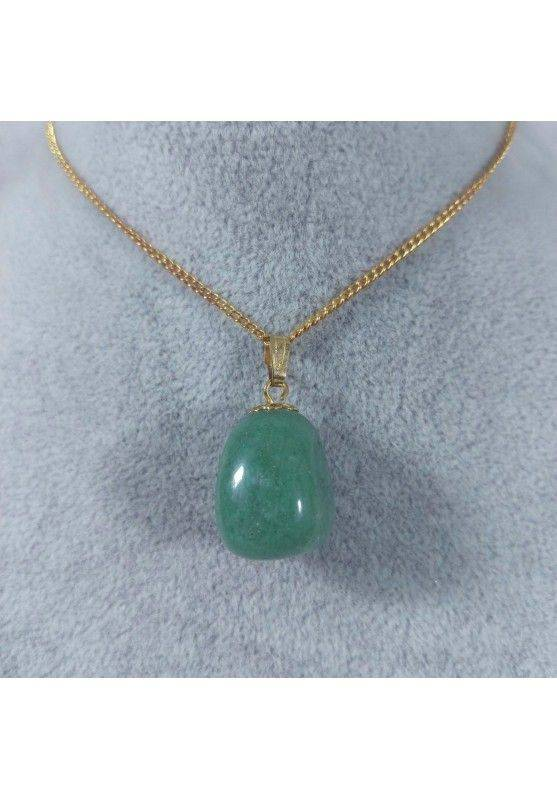 Gold Flower Pendant In Green Aventurine Necklace Charm Chain Chakra Reiki-1