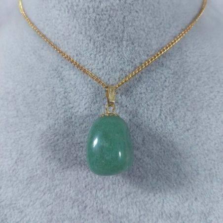 Gold Flower Pendant In Green Aventurine Necklace Charm Chain Chakra Reiki-1