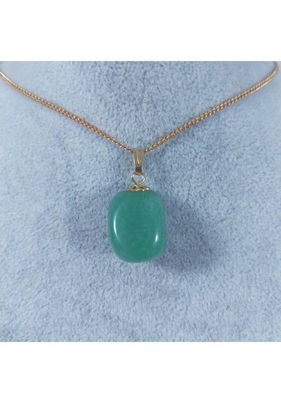 Gold Flower Pendant In Green Aventurine Necklace Charm Chain Chakra Reiki-2