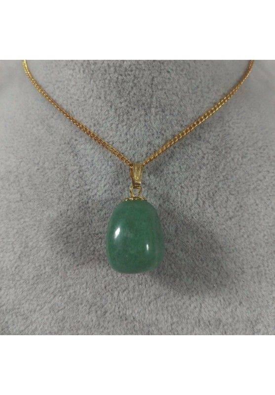 Gold Flower Pendant In Green Aventurine Necklace Charm Chain Chakra Reiki−3