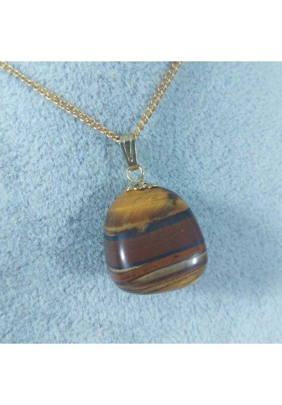 Golden Flower Pendant in TIGER'S EYE Necklace Charm Chain MINERALS Gift Idea-1