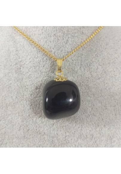 Golden Flower Pendant in Black ONIX Necklace Charm Chain MINERALS Gift Idea Reiki-1
