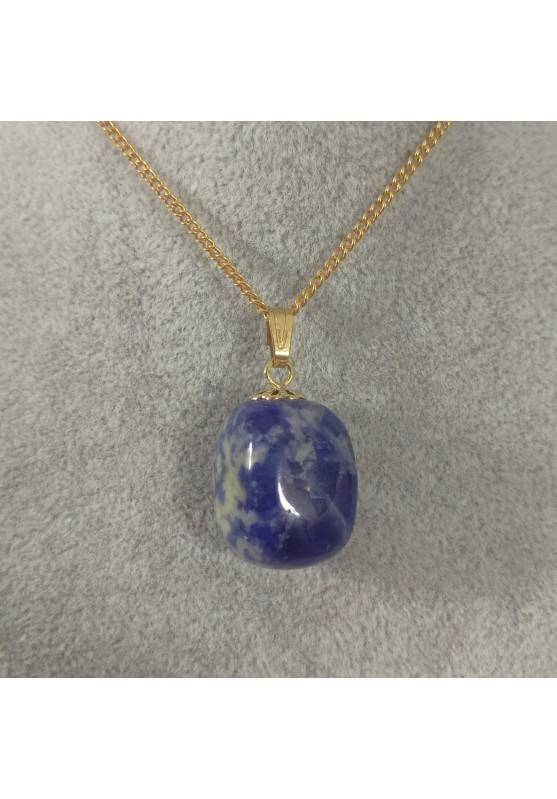 Golden Flower Pendant in Sodalite Quartz Necklace Charm Crystal Healing Zen A+-1