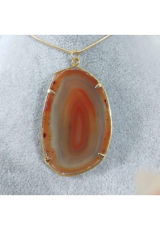 Ciondolo in Fetta d'Agata Arancione Collana Pendente Charm Minerali Chakra Zen-1
