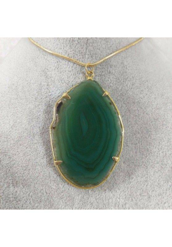 Green Agate Slice Pendant Necklace Charm Charm MINERALS Chakra Zen-1
