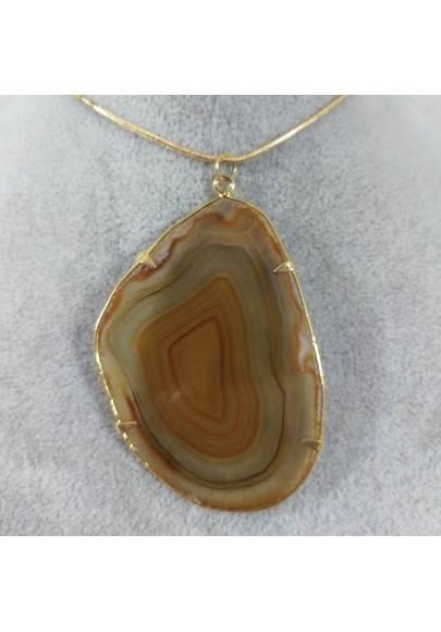 Brown Agate Slice Pendant Gold Necklace Charm Charm MINERALS Chakra Zen-1