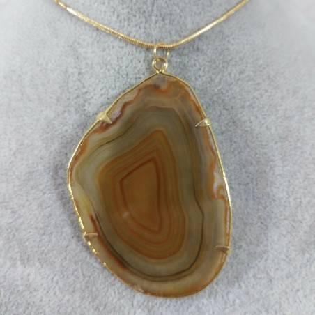 Ciondolo in Fetta d'Agata Marrone Oro Collana Pendente Charm Minerali Chakra Zen-1