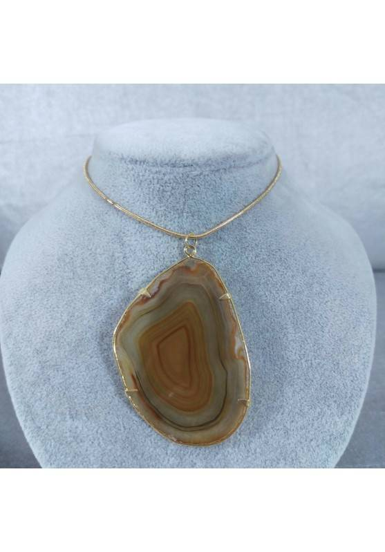 Brown Agate Slice Pendant Gold Necklace Charm Charm MINERALS Chakra Zen-2