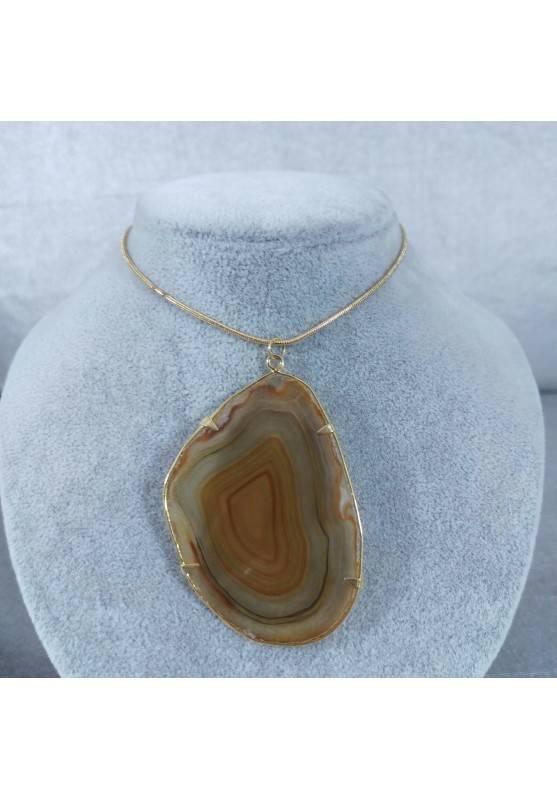 Brown Agate Slice Pendant Gold Necklace Charm Charm MINERALS Chakra Zen-2