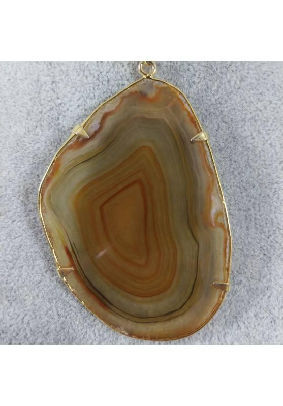 Ciondolo in Fetta d'Agata Marrone Oro Collana Pendente Charm Minerali Chakra Zen-3