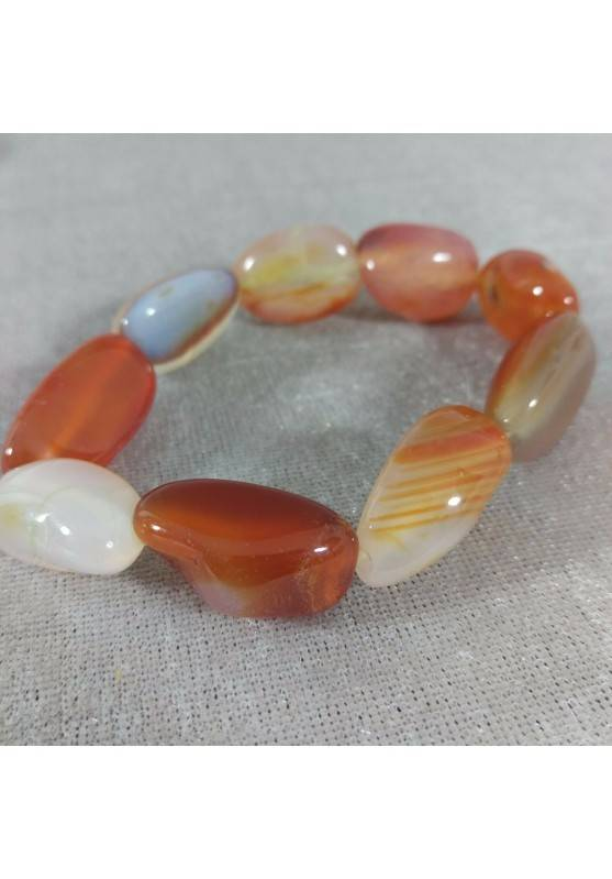 Bracelet in CARNELIAN RED AGATET Tumbled Stone MINERALS Crystal Healing A+-2
