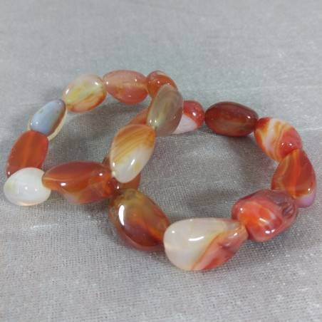 Bracelet in CARNELIAN RED AGATET Tumbled Stone MINERALS Crystal Healing A+−3