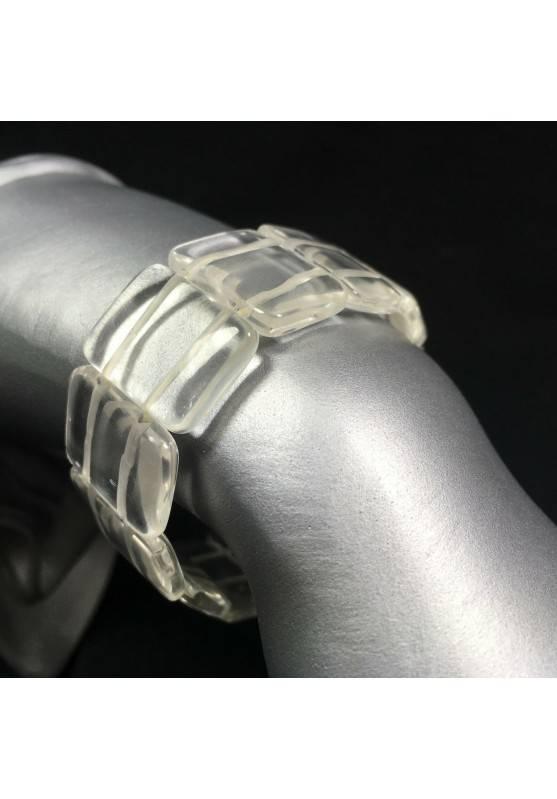 Hyaline Quartz Clear Bracelet Tumbled Stone Healing Crystal MINERALS Chakra A+-1