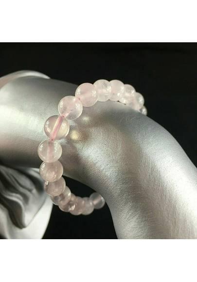 Braccialetto Mala in Quarzo Rosa Bracciale a Sfere 8mm Unisex Gioielli Minerali-1