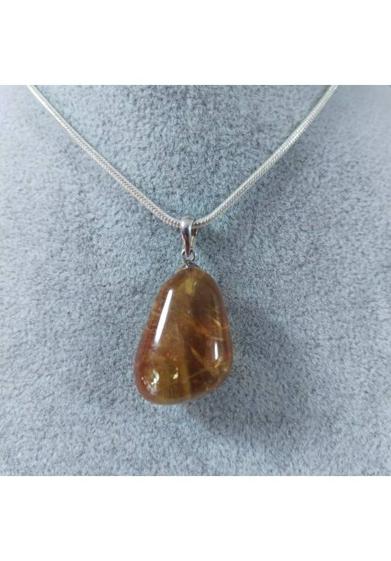 Pendant in Honey CALCITE Amber Color on Sterling Silver 925 Necklace MINERALS AMBER Reiki-1