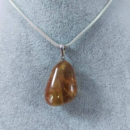 Ciondolo in Calcite Mielata Ambrata su ARGENTO 925 Collana Minerali Ambra Reiki-1