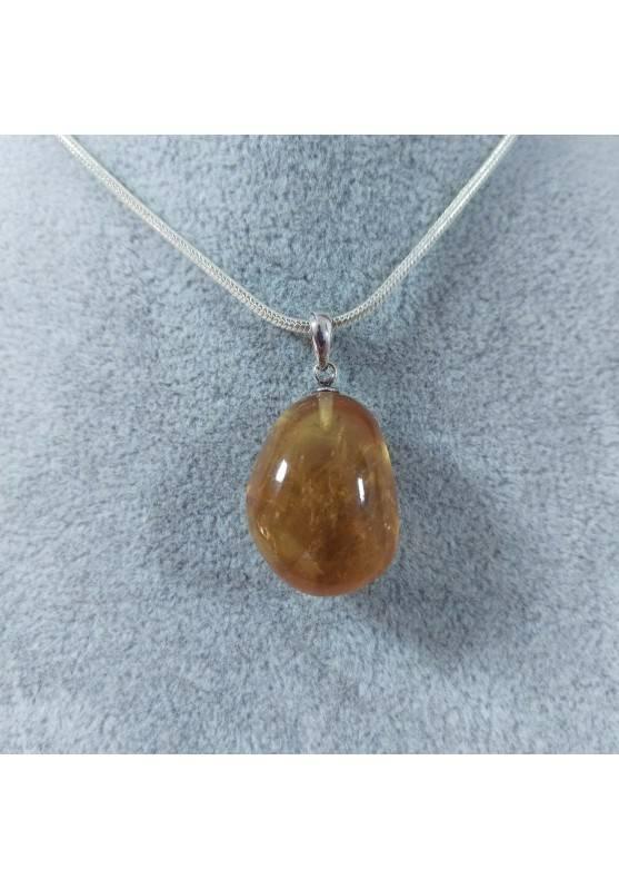 Ciondolo in Calcite Mielata Ambrata su ARGENTO 925 Collana Minerali Ambra Reiki-2