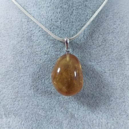 Pendant in Honey CALCITE Amber Color on Sterling Silver 925 Necklace MINERALS AMBER Reiki-2