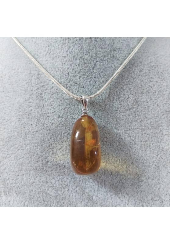 Ciondolo in Calcite Mielata Ambrata su ARGENTO 925 Collana Minerali Ambra Reiki-3