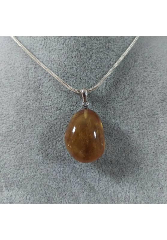 Ciondolo in Calcite Mielata Ambrata su ARGENTO 925 Collana Minerali Ambra Reiki-4