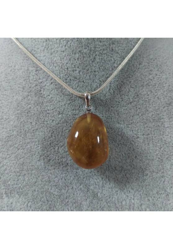Pendant in Honey CALCITE Amber Color on Sterling Silver 925 Necklace MINERALS AMBER Reiki-4
