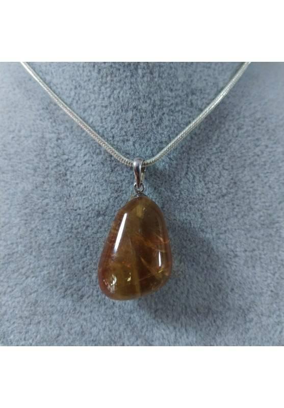 Ciondolo in Calcite Mielata Ambrata su ARGENTO 925 Collana Minerali Ambra Reiki-5