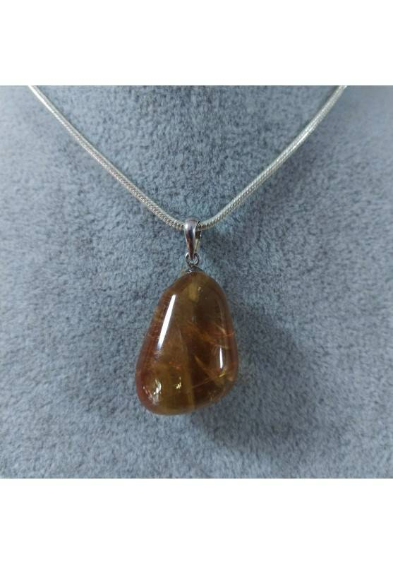 Pendant in Honey CALCITE Amber Color on Sterling Silver 925 Necklace MINERALS AMBER Reiki-5
