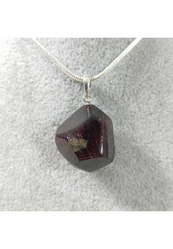 Ciondolo in Granato Sfaccetato su ARGENTO 925 Collana Gioiello Minerali Charm-1