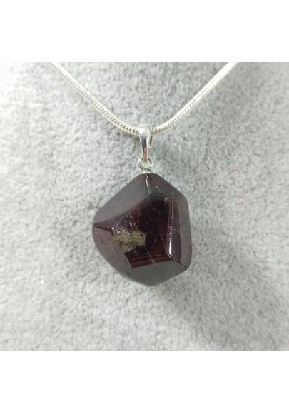 Pendant in GARNET Faceted on Sterling Silver 925 Necklace Jewel MINERALS Charm-1