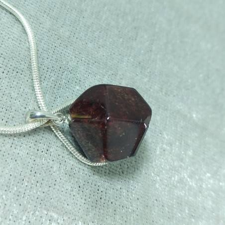 Pendant in GARNET Faceted on Sterling Silver 925 Necklace Jewel MINERALS Charm-2