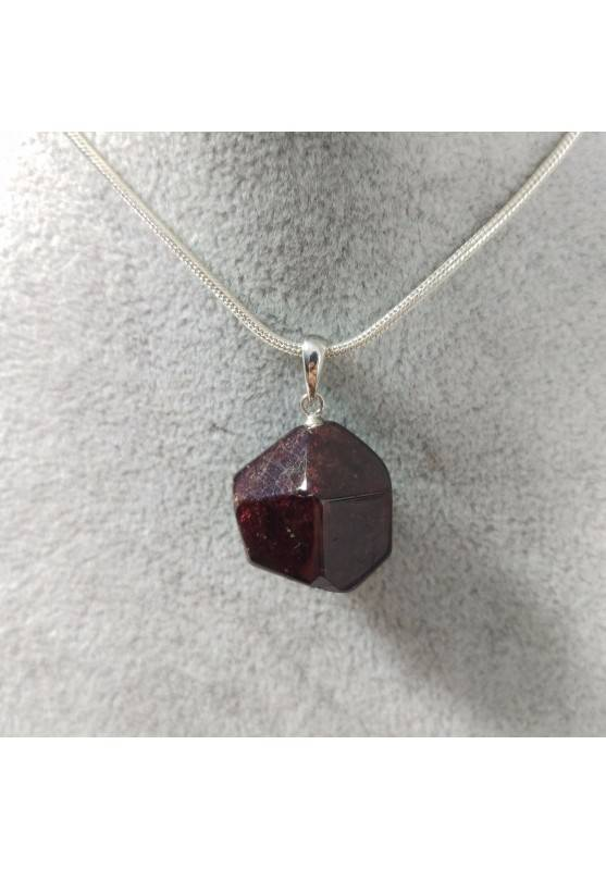Pendant in GARNET Faceted on Sterling Silver 925 Necklace Jewel MINERALS Charm−3