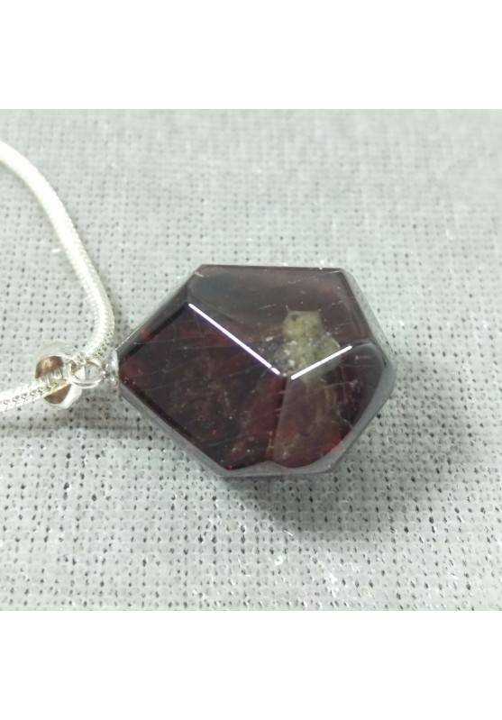 Pendant in GARNET Faceted on Sterling Silver 925 Necklace Jewel MINERALS Charm-5