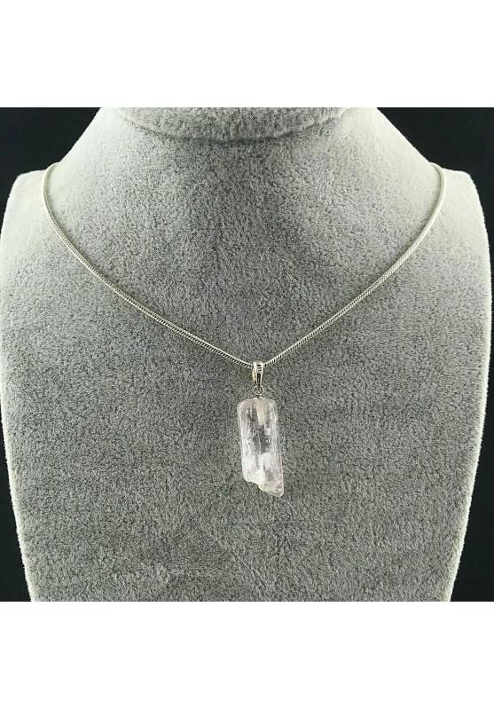 Pendant in Kunzite on Sterling Silver 925 Necklace Jewel MINERALS Crystal Healing A+−3