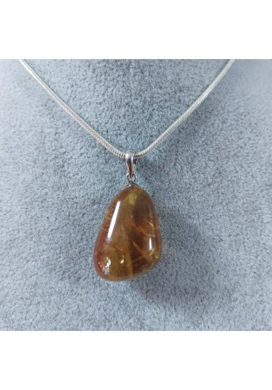 Honey CALCITE Pendant in Sterling Silver 925-SAGITTARIUS CANCER MINERALS Necklace-2