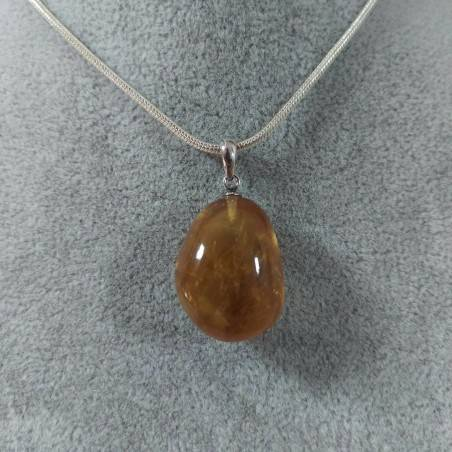 Honey CALCITE Pendant in Sterling Silver 925-SAGITTARIUS CANCER MINERALS Necklace-4