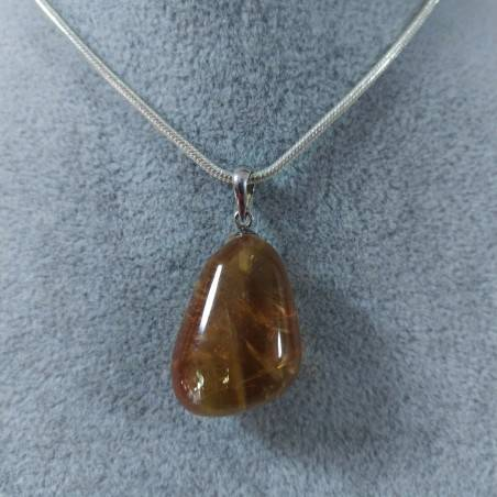 Honey CALCITE Pendant in Sterling Silver 925-SAGITTARIUS CANCER MINERALS Necklace-5