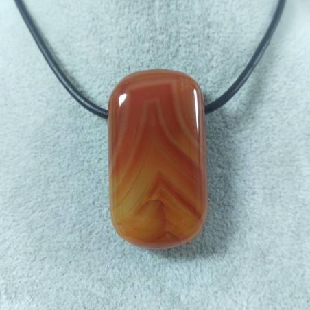 Large Pendant Gemstone in CARNELIAN AGATE Necklace Charm Chain MINERALS Chakra-1