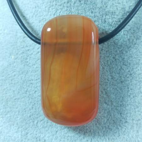 Large Pendant Gemstone in CARNELIAN AGATE Necklace Charm Chain MINERALS Chakra-2