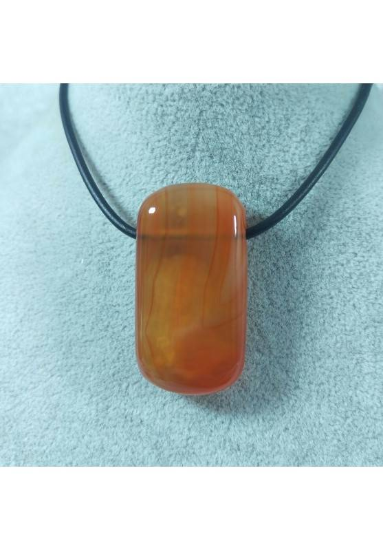 Large Pendant Gemstone in CARNELIAN AGATE Necklace Charm Chain MINERALS Chakra−3