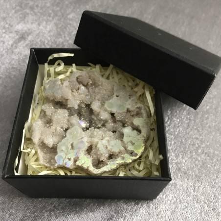 Geode in PLATINUM AQUA AURA + Box Hyaline Quartz Brillante Rock CRYSTAL−3