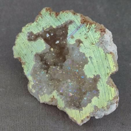 Geode PLATINO in AQUA AURA + Scatola Quarzo Ialino Brillante Cristallo di Rocca-6