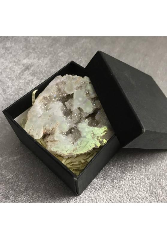 Geode PLATINO in AQUA AURA + Scatola Quarzo Ialino Brillante Cristallo di Rocca-10