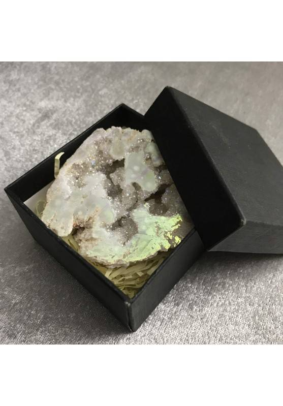 Geode in PLATINUM AQUA AURA + Box Hyaline Quartz Brillante Rock CRYSTAL-10