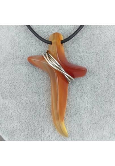 Pendant Precious Cross in CARNELIAN & True Silver Necklace Jewel SUPER RARE-1