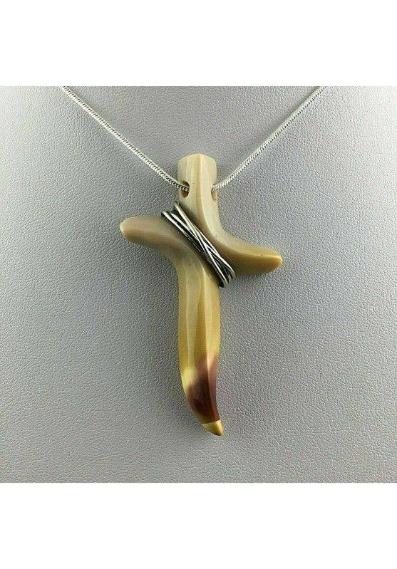 Ciondolo Artigianale Croce in DIASPRO Paesaggio Con Filo D'Argento Regalo-1